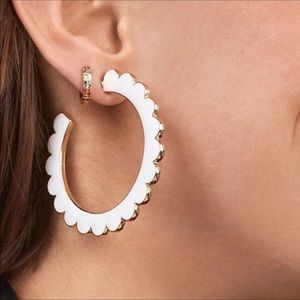 NWOT Anthro BaubleBar White Hoop Earrings